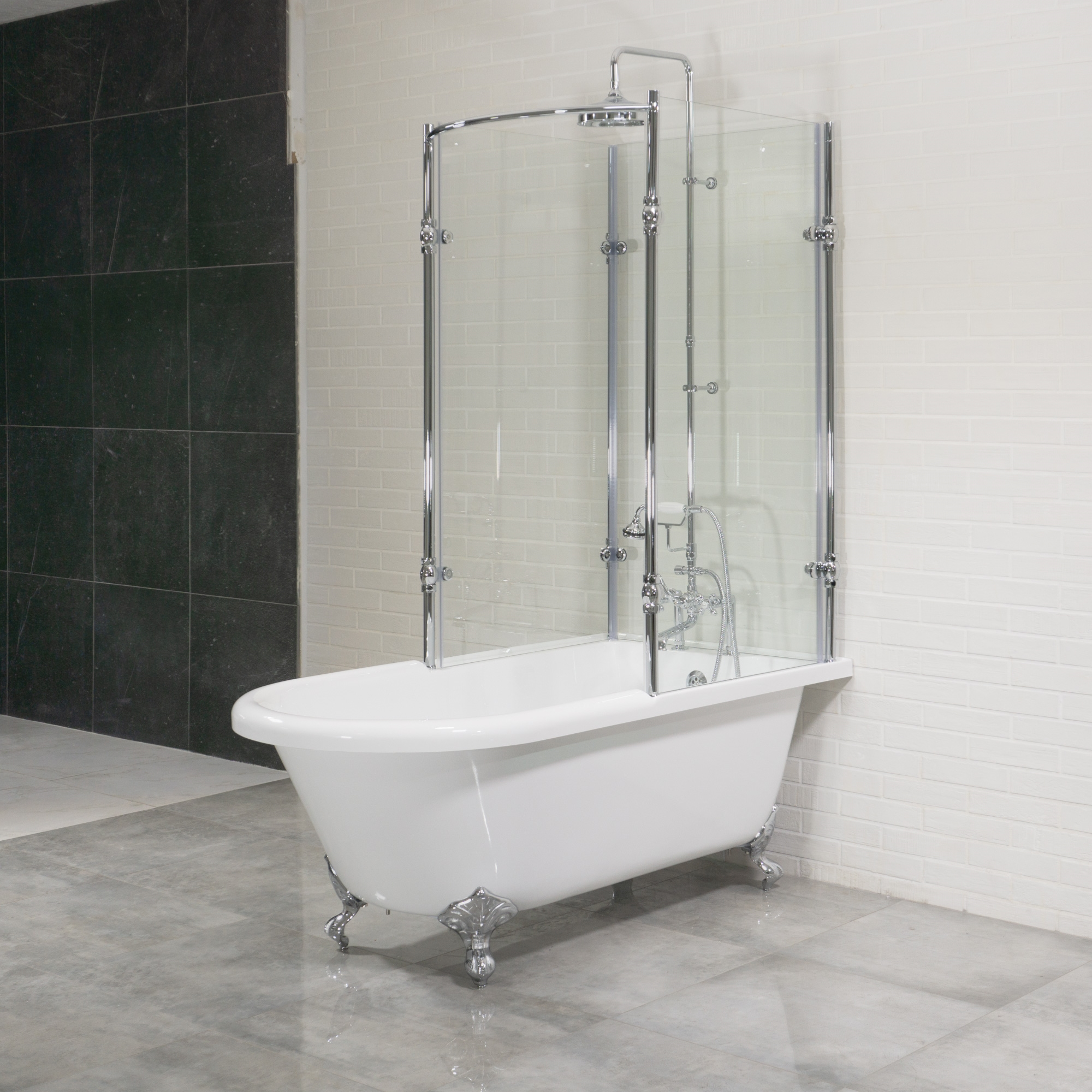 clawfoot tub glass shower enclosure. Oasis 59  Vintage Extra Wide Clawfoot Tub with Tempered Glass Shower Enclosure Package Antique Surround