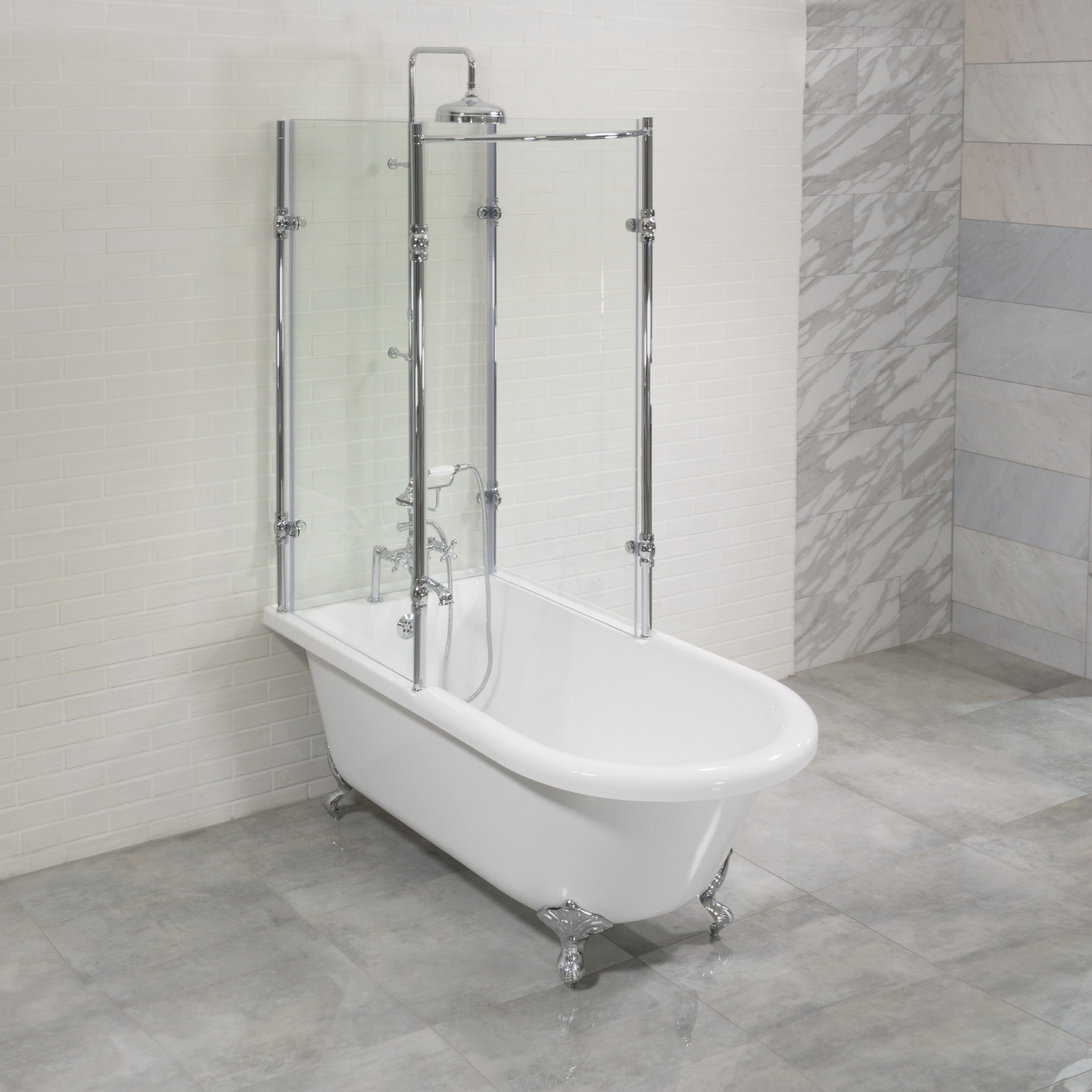 clawfoot tub shower enclosure kit. Oasis 59  Vintage Extra Wide Clawfoot Tub with Tempered Glass Shower Enclosure Package Antique Surround