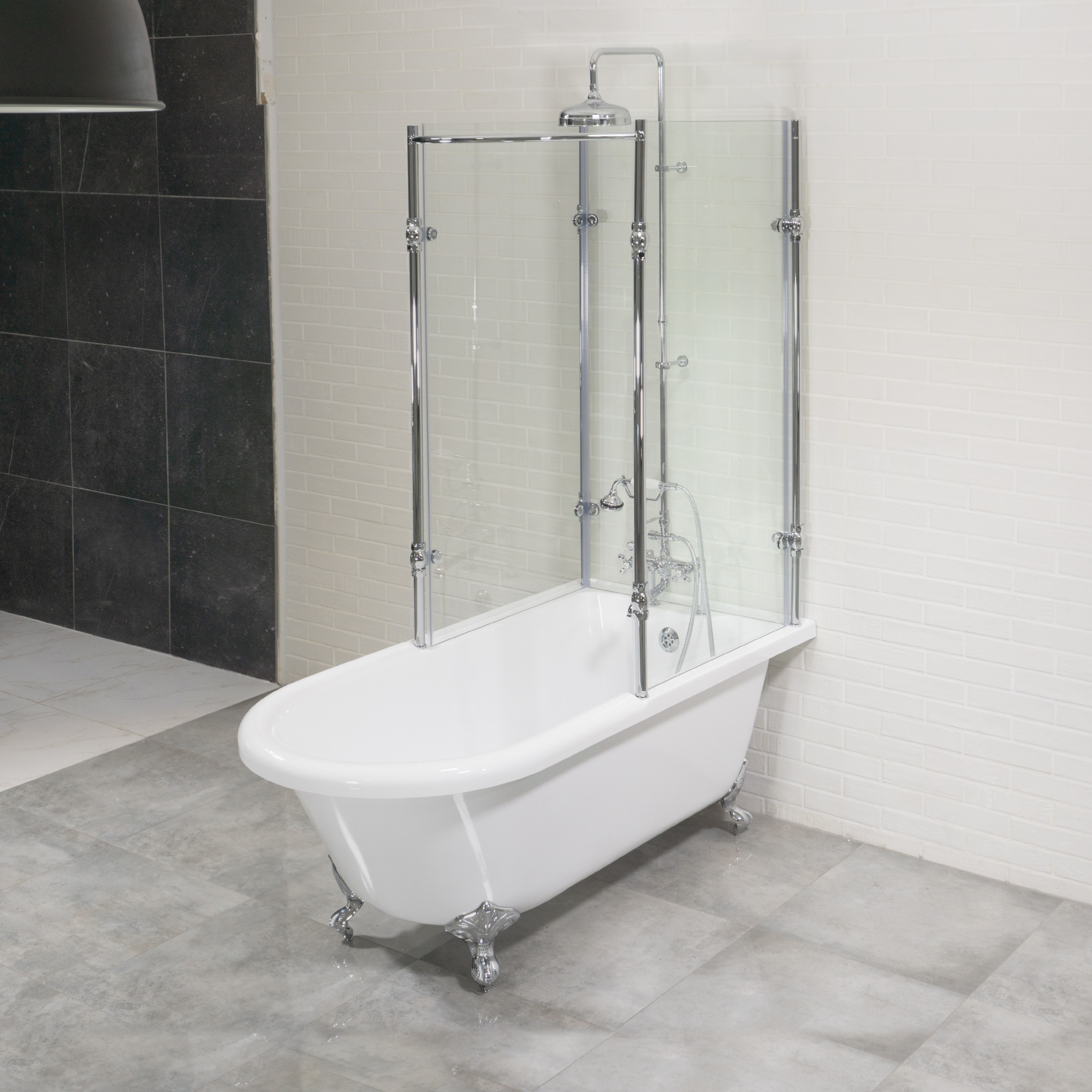 clawfoot tub and shower package. Oasis 59  Vintage Extra Wide Clawfoot Tub with Tempered Glass Shower Enclosure Package Antique Surround