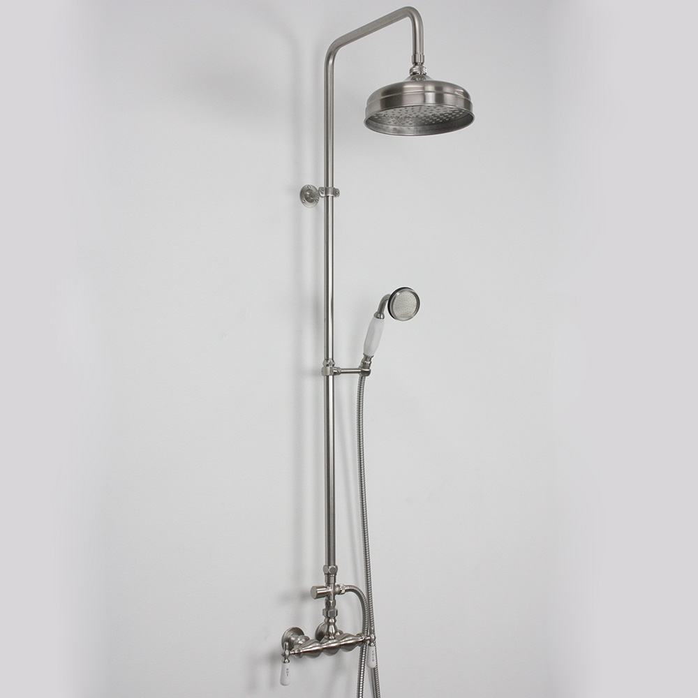 Edwardian Exposed Wall Shower with Diverter and Handheld in Brushed ...