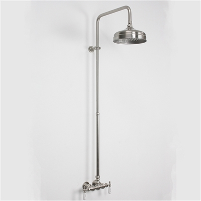 Edwardian Exposed Wall Shower In Brushed Nickel