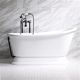 "<br>'CARAFA54' 54"" CoreAcryl Acrylic  Swedish Slipper Pedestal Tub and Faucet Package"