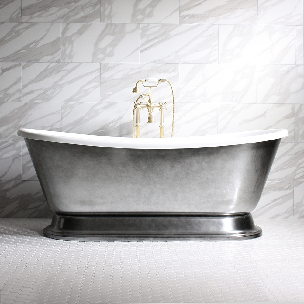 double plinth henley deck tub tap dual bathroom on ended pedestal iron cast