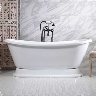"<br>'FIAMATTA59' 59"" CoreAcryl WHITE acrylic French Bateau Pedestal Tub and Faucet Package"