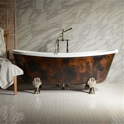 "<br>'FILIPO67' 67"" CoreAcryl Acrylic French Bateau with Antiqued Copper Leaf Exterior Clawfoot Tub and Faucet Package"