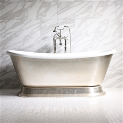 "<br>'GIANETTA67' 67"" CoreAcryl WHITE Acrylic French Bateau Pedestal Tub with Umber Wash Aged Silver Leaf Exterior plus Faucet Package"