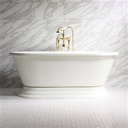 "<br>'GIANFRANCO' 67"" CoreAcryl BISCUIT Acrylic Double Ended Pedestal Bathtub with Fittings in Brushed Nickel"