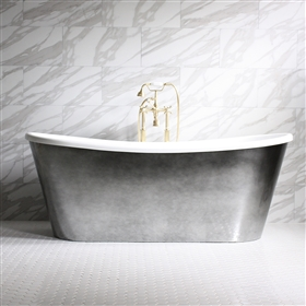 "<br>'Ginevra-Air73' 73"" CoreAcryl WHITE French Bateau HOT AIR JETTED Acrylic Skirted Bathtub Package with an Aged Chrome Finish Exterior"