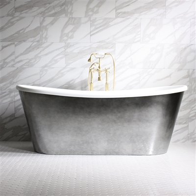 "<br>'GINEVRA73' 73"" CoreAcryl WHITE French Bateau acrylic skirted tub package with Aged Chrome exterior"
