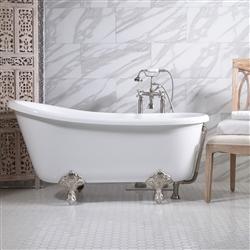 Br Gritti54 54 Coreacryl White Acrylic Swedish Slipper Clawfoot Tub And