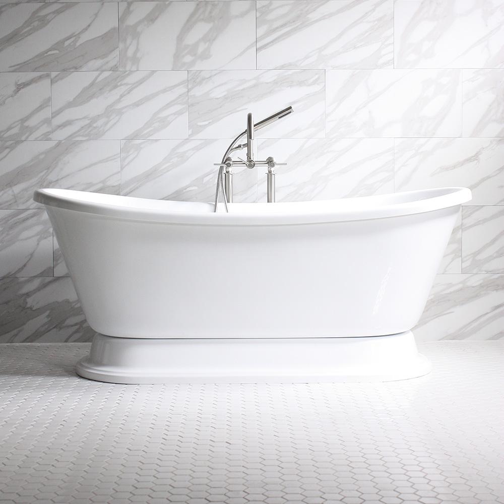 ISABETTA\' CoreAcryl White Acrylic French Bateau Pedestal Bathtub