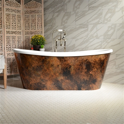 "<br>'NICOLOSA73' 73"" CoreAcryl WHITE French Bateau Acrylic Skirted Tub Package with Patina Copper Leaf Exterior"