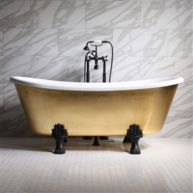 "<br>'RAMESSES67' 67"" CoreAcryl WHITE Acrylic French Bateau Clawfoot Tub with Umber Wash Egyptian Gold Leaf Exterior plus Faucet Package"