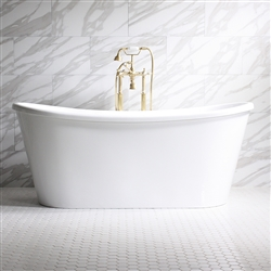 "<br>'Verona-Air67' 67"" CoreAcryl WHITE French Bateau AIR JETTED acrylic skirted tub package"