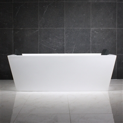 <br>SanSiro 'Asti59CHS' 59 x 34 inch Center Drain HYDRO-SPA Water and Air Jetted High Gloss White ACRYLIC Freestanding Bathtub