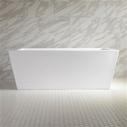 <br>SanSiro 'Asti73CAJ' 73 x 34 inch Center Drain HOT AIR JETTED High Gloss White ACRYLIC Freestanding Bathtub