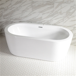 <br>SanSiro 'Augusta59CAJ' 59 x 35 inch Center Drain HOT AIR JETTED High Gloss White ACRYLIC Freestanding Bathtub