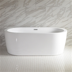 <br>SanSiro 'Augusta71CAJ' 71 x 35 inch Center Drain HOT AIR JETTED High Gloss White ACRYLIC Freestanding Bathtub