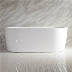 <br>SanSiro 'Augusta67EWJ' 67 x 35 inch End Drain WATER JETTED High Gloss White ACRYLIC Freestanding Bathtub