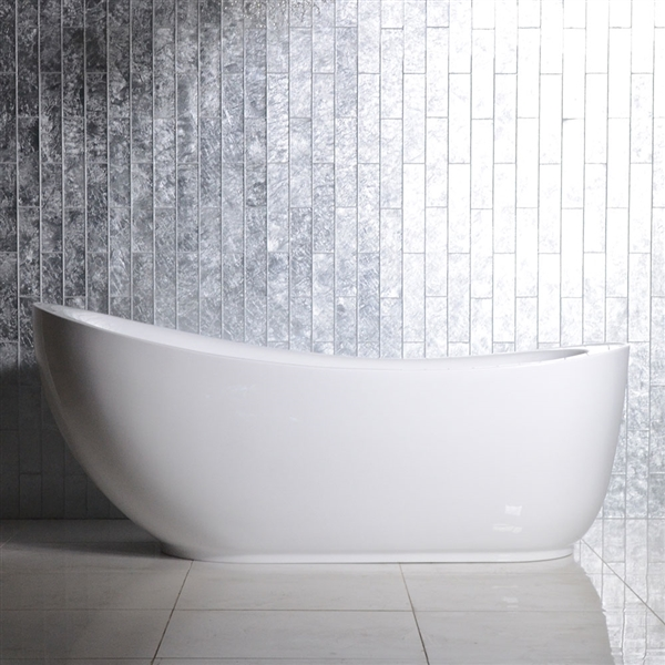 "<br>SanSiro 'Feronia71EWJ' 71"" End Drain WATER Jetted High Gloss White ACRYLIC Freestanding Bathtub"