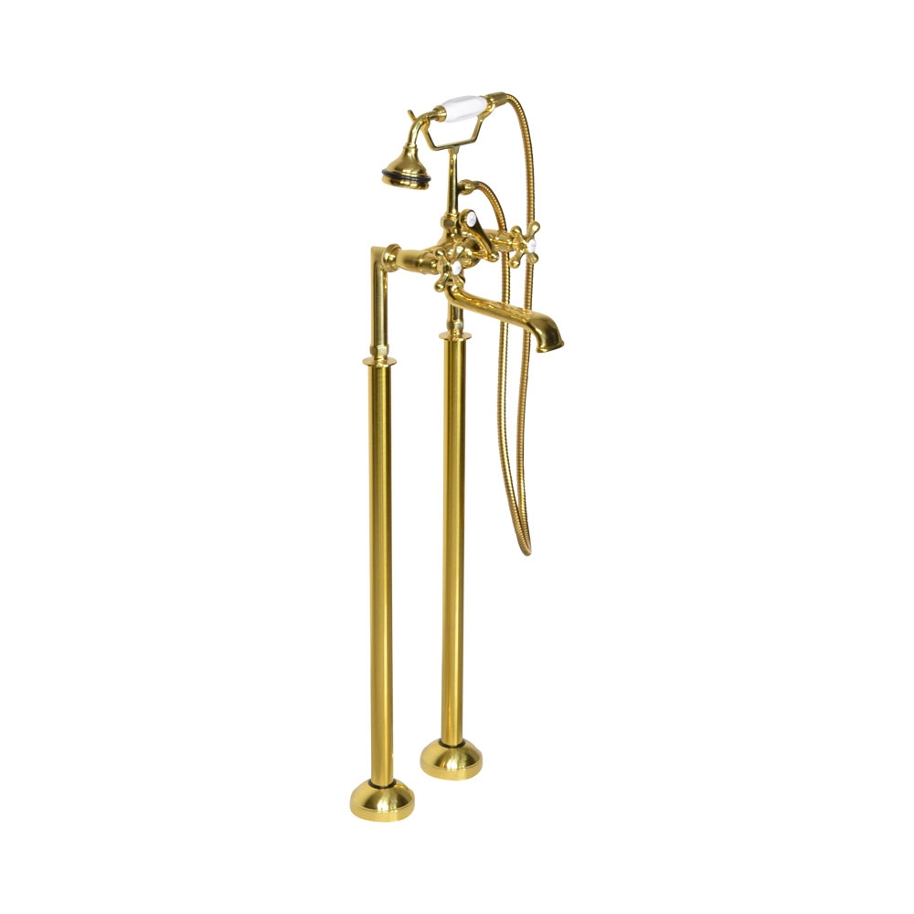 Victoriana Free Standing Tub Filler in Unvarnished Polished Brass