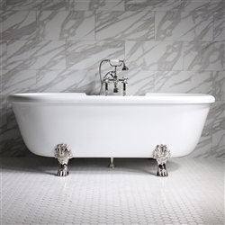 "<br>SS69A 69"" SanSiro HOT AIR Jetted Double Ended Clawfoot Tub Package with Twin Chromotherapy"