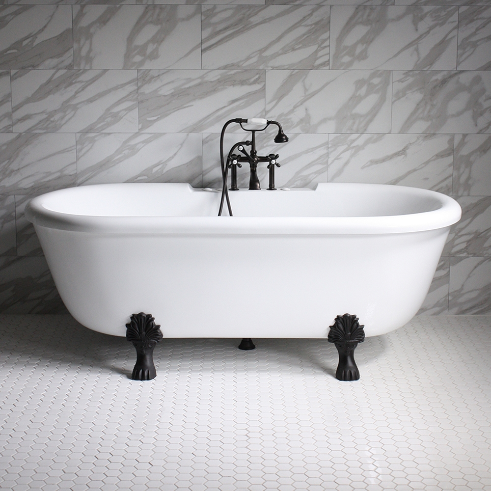 SanSiro SS69W 69 WATER Jetted Double Ended Clawfoot Tub Package With Ch