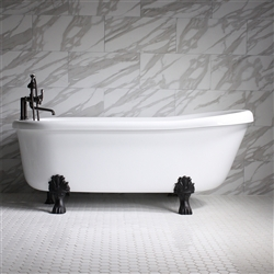 "<br>SanSiro SS73A 73"" HOT AIR Massage Slipper Clawfoot Tub and Faucet Package with Twin Chromotherapy"