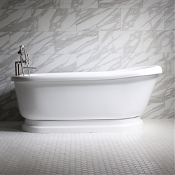 "<br>SS73PDA 73"" SanSiro HOT AIR Jetted Single Slipper Pedestal Tub Package with Twin Chromotherapy"