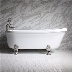 "<br>SS73W 73"" SanSiro WATER Jetted Single Slipper Clawfoot Tub Package with Chromotherapy"
