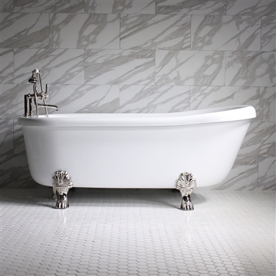 "<br>SS73W 73"" SanSiro WATER Jetted Single Slipper Clawfoot Tub Package"