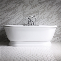 "<br>SS75PDA 75"" SanSiro HOT AIR Jetted Double Ended Pedestal Tub Package with Twin Chromotherapy"
