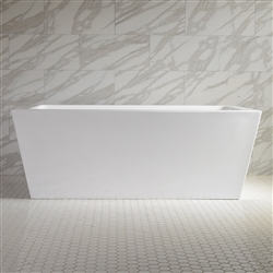 <br>SanSiro 'Asti67E' 67 inch End Drain High Gloss White ACRYLIC Freestanding Soaker Bathtub