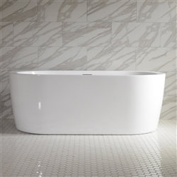 <br>SanSiro 'Augusta67E' 67 inch End Drain High Gloss White ACRYLIC Freestanding Soaker Bathtub