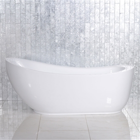 <br>'Feronia71' 71 inch long High Gloss White ACRYLIC Freestanding Soaker Bathtub with Freestanding Tub Filler