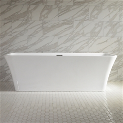 <br>'Sandava67' 67inch Center Drain High Gloss White ACRYLIC Freestanding Soaker Bathtub