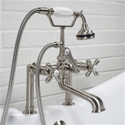 <br>Victoriana Deck Mounted Brisitsh Telephone Style Tub Faucet with Handheld Shower in BRUSHED NICKEL