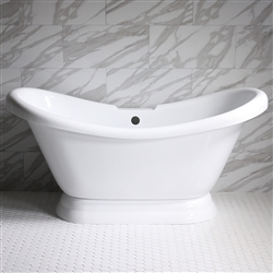 "<br>VTADS59 59"" HOT AIR Massage Double Slipper Tub with Drain and Concealed Blower"