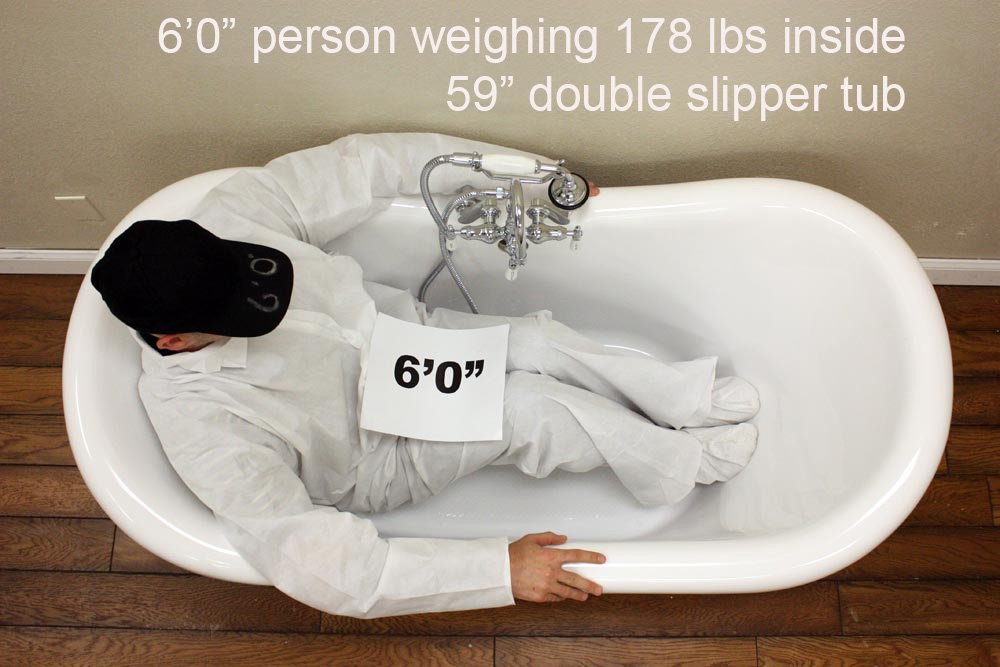 Vtads59 59 Quot Hot Air Massage Double Slipper Tub With Drain