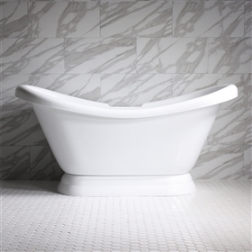 "<br>VTADS73 73"" HOT AIR Massage Double Slipper Tub with Drain and Concealed Blower"